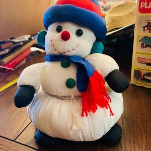Vintage Holiday Snowman Plush With Storage Inside